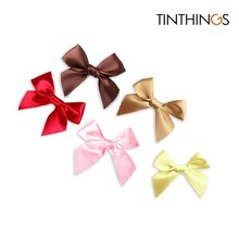 120 PCS 75x55mm Small Ribbon Bow 25mm Wide Polyester Satin Gift Bows Wedding Decoration Crafts Handmade DIY Favor