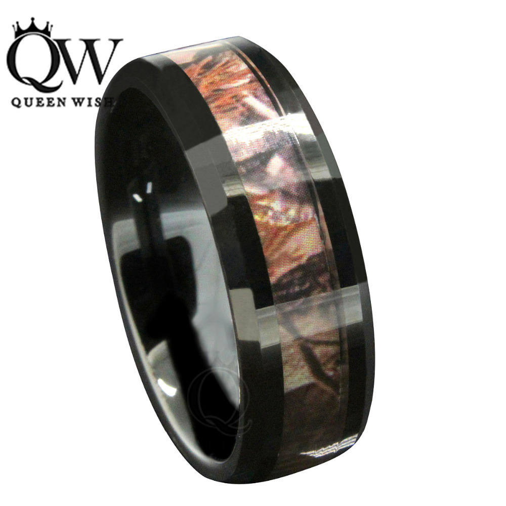 Queenwish 8mm Black Tungsten Carbide Rings Red Forest Camouflage ...
