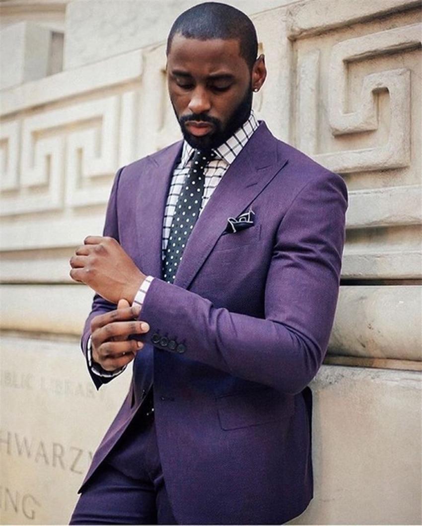 High Quality Costume Homme Purple Men Suits Groom Tuxedos Groomsmen Wedding Party Dinner Best Man Suit (Jacket+Pants+Tie)