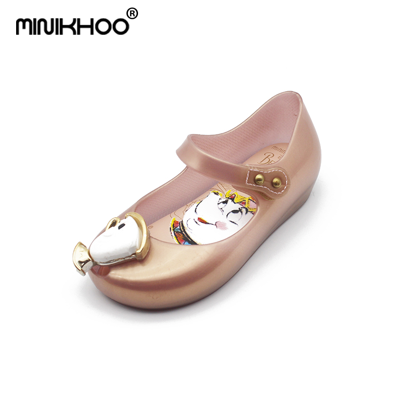 Mini Melissa 2018 New Beauty Beast Girl Jelly Sandals Brazil Children Shoes Teacup Melissa Toddler Shoes High Quality 15-18cm