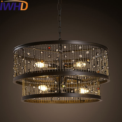 IWHD Vintage Rrtro Industrial LED Pendant Lights Style Loft Living Room Hanging Lamp Crystal Hanglamp Bar Suspension Luminaire iwhd glass lampara vintage pendant light style loft vintage pendant lights living room bae kitchen lamps hanglamp luminaire