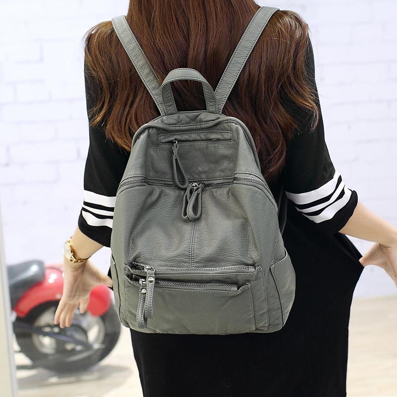 2017 Fashion New Women Backpack PU Leather School Bags For Teenagers Girls Travel Bag Mochila Escolar