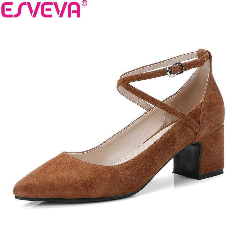 ESVEVA 2018 Women Pumps Elegant Pointed Toe Buckle Strap Cross-tied Square High Heels Pumps Kid Suede PU Ladies Shoes Size 34-39 pu pointed toe flats with eyelet strap