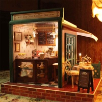NEW DIY Dollhouse Handcraft Miniature Project Kit The Star Coffee Bar Music Wooden Doll House Room Toys Tools Set Accessories