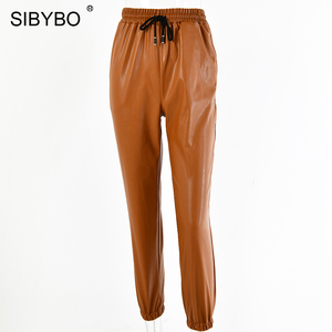 Image 5 - SIBYBO High Waist PU Leather Casual Pants Women Fashion Drawstring Pockets Pencil Pants Solid Streetwear Autumn Women Trousers