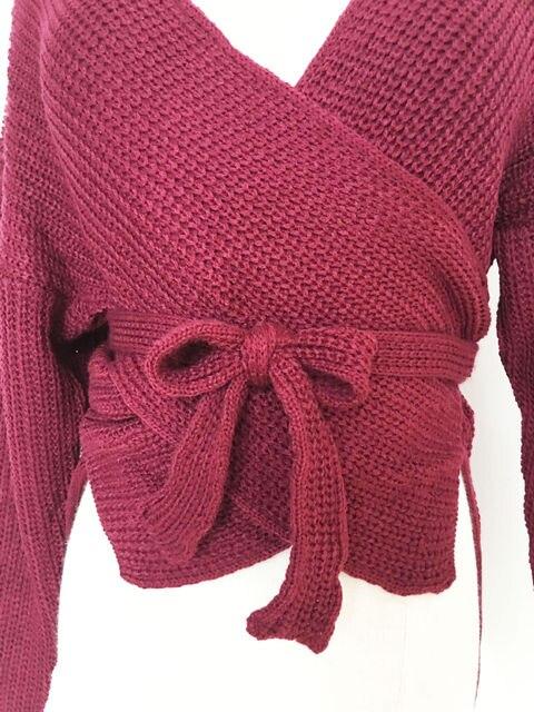 Hirigin Women Sweaters Crop Top Casual Long sleeve Knitted Loose Sweater Knitwear For Women Belt Deep V Neck Outwear Fashion 10