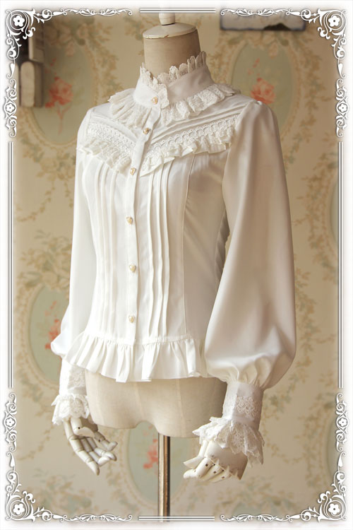Infanta Branded Thick Women's Blouse Classic White/Black Stand Collar Long Puff Sleeve Chiffon Shirt
