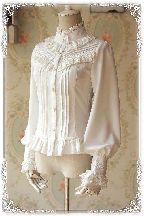 Kadın Giyim'ten Bluzlar ve Gömlekler'de Infanta Markalı Kalın kadın Bluz Klasik Beyaz/Siyah Standı Yaka Uzun Puf Kollu Şifon Gömlek'da  Grup 1