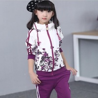 New Spring Autumn Children Clothing Sets Girls Sportswear Girls Floral Hooded Coat+Pants Girls Tracksuit for 3 12years