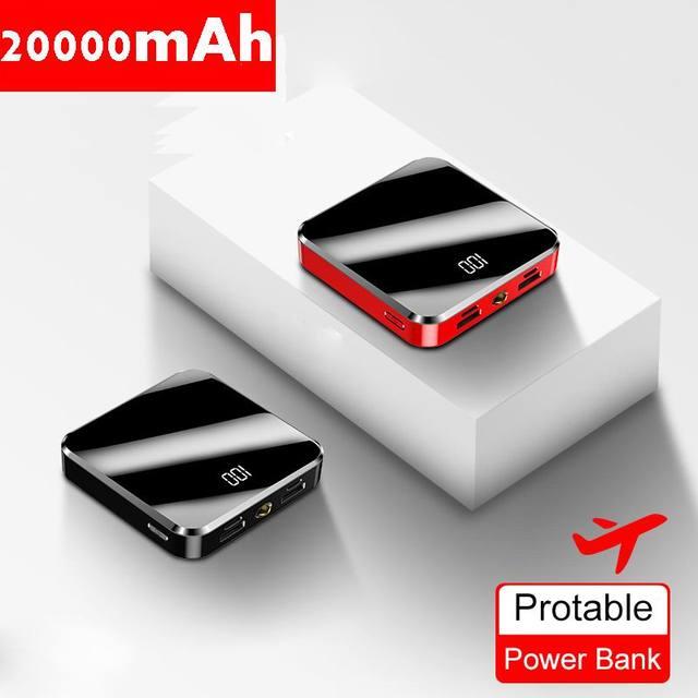 20000mAh Portable Mini Power Bank Mirror Screen LED Display Powerbank External Battery Pack Poverbank For Smart Mobile Phone