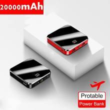 20000mAh Portable Mini Power Bank Mirror Screen LED Display Powerbank External