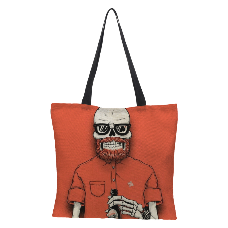 RAVIDINO Tote Casual Beach Bag Large Capacity Foldable Grocery Reusable High Grade Linen Punk Skeleton Knight Sery Shopping Bag