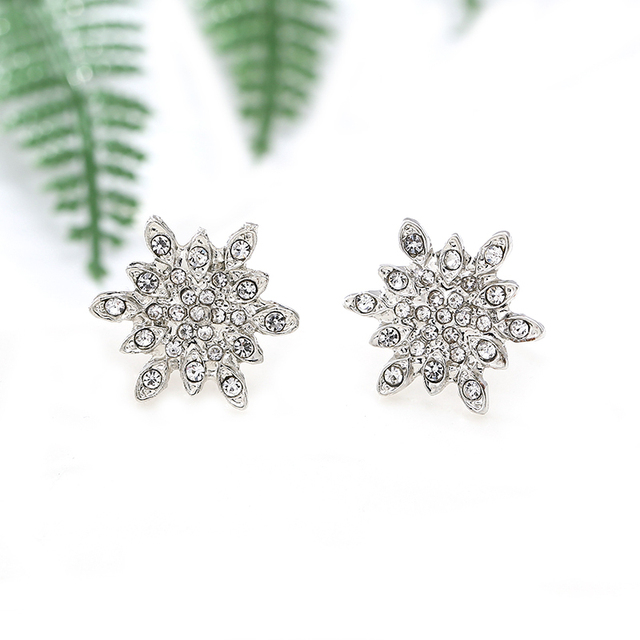 Togory Silver Plated Geometric Snowflake Flower Clear Cz Pandora Stud Earrings For Women Brincos Jewelry