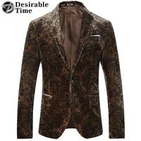 Deseable tiempo slim fit Brown Velvet blazer hombres un botón de la moda chaqueta floral chaqueta S-4XL DT177