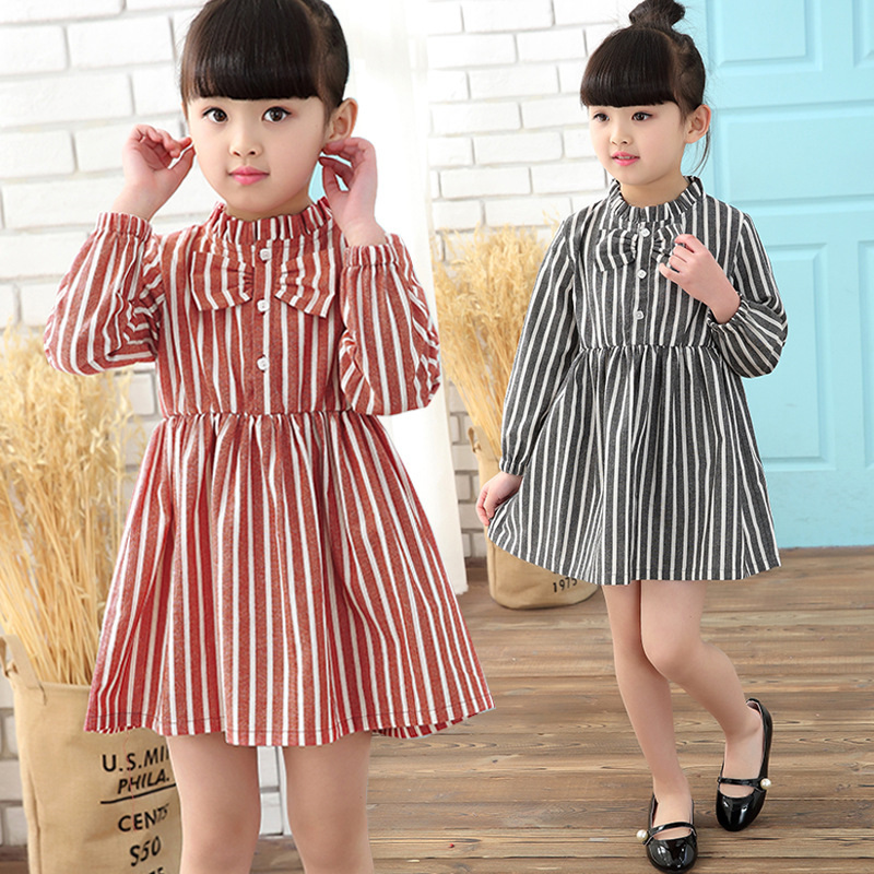 Autumn Baby Dress Striped Girl Dress Spring T-Shirt Dress Long Sleeved 3-8 Years Princess Costume Bows Ruffles Children Clothing 2016 new children s clothing boys long sleeved t shirt large child bottoming shirt spring striped shirt tide
