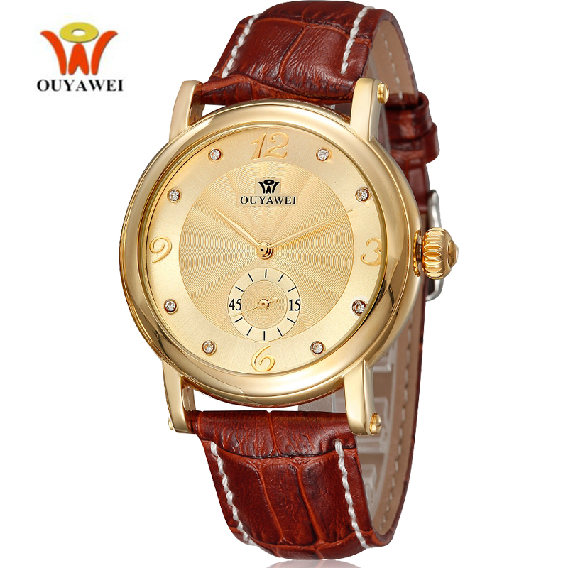 OUYAWEI Mechanical Watches for Men Waterproof Self Winding Automatic Luxury Classic Watch Leather Small Second Business Wrist
