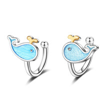 XIYANIKE 925 Sterling Silver Korean Temperament Blue Little Whale Ear Clip For Women Girls Birthday Gift No Ear Hole Jewelry(China)