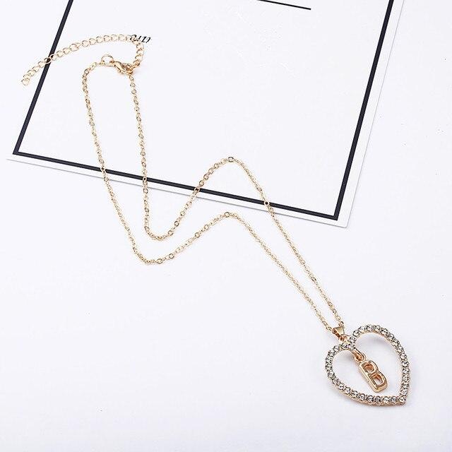 2018 Simple couleur or amour coeur colliers et pendentifs double strass collier ras du cou femmes déclaration Bijoux Bijoux x1 2