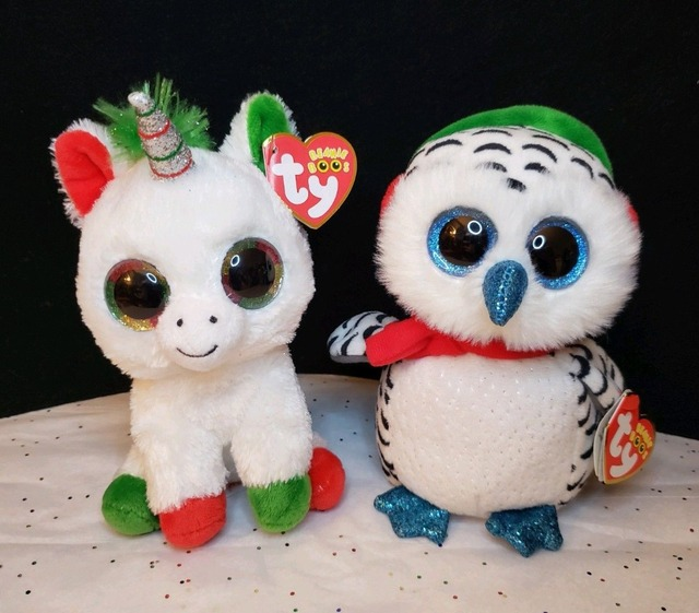 3f25a3570d7 Ty Beanie Boo NEW 2018 Holiday Exclusive Lot CANDY CANE the Unicorn and  NESTER Snow Owl Plush Toys Gifts Brand New with Tags