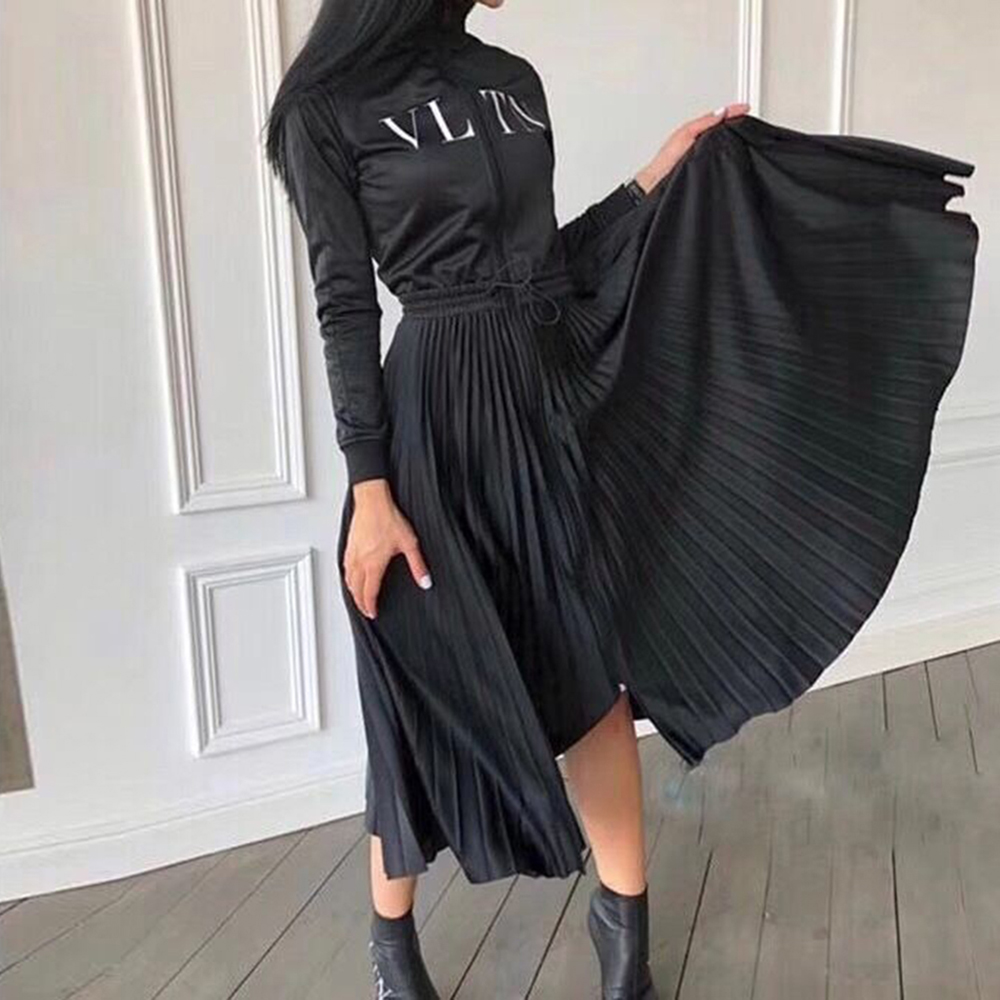 2019 New Women Baseball Jersey Korean Star Same Style Dress Stand Collar Fashion Zip Letters Pleated Long Dresses Female Clothes