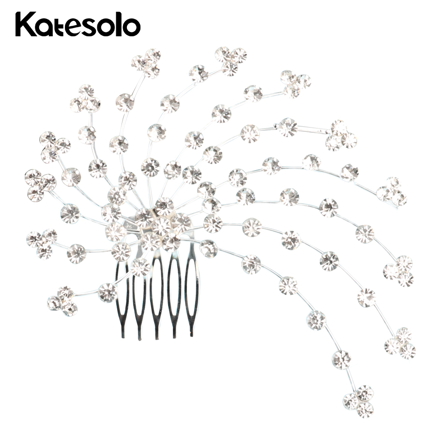 Wedding Hair Accessories Romantic All Over The Sky Star Crystal Hair Clips Combs Hair Jewelry Bridal Tiara Crown Flower Design
