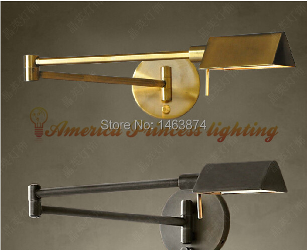 Industrial retro nostalgic antique copper wall / French folding mobilize stretch sink lamp, material iron, E14, AC110 240V