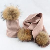 2018 Fashion Children Winter Warm Raccoon Fur Hats Scarf Sets Baby Boy Girl Real 15cm Fur Pompom Beanies Cap Fur Hat For Kids