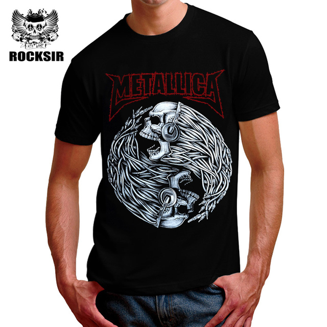 21e907d6a Silver Patterns Metalica Print Fashion T shirt Men Novelty O neck T-shirt  Men Casual Quality Nice Mens T shirts Fashion 2017