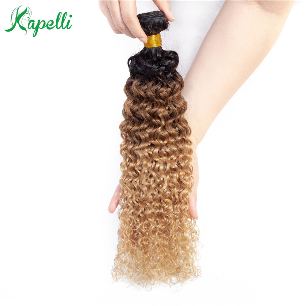 Kapelli Ombre Hair Extension 1b/30/27 Blonde Natural Color Mongolian Kinky Curly Human Hair Bundles 1pc NonRemy Human Hair Weave