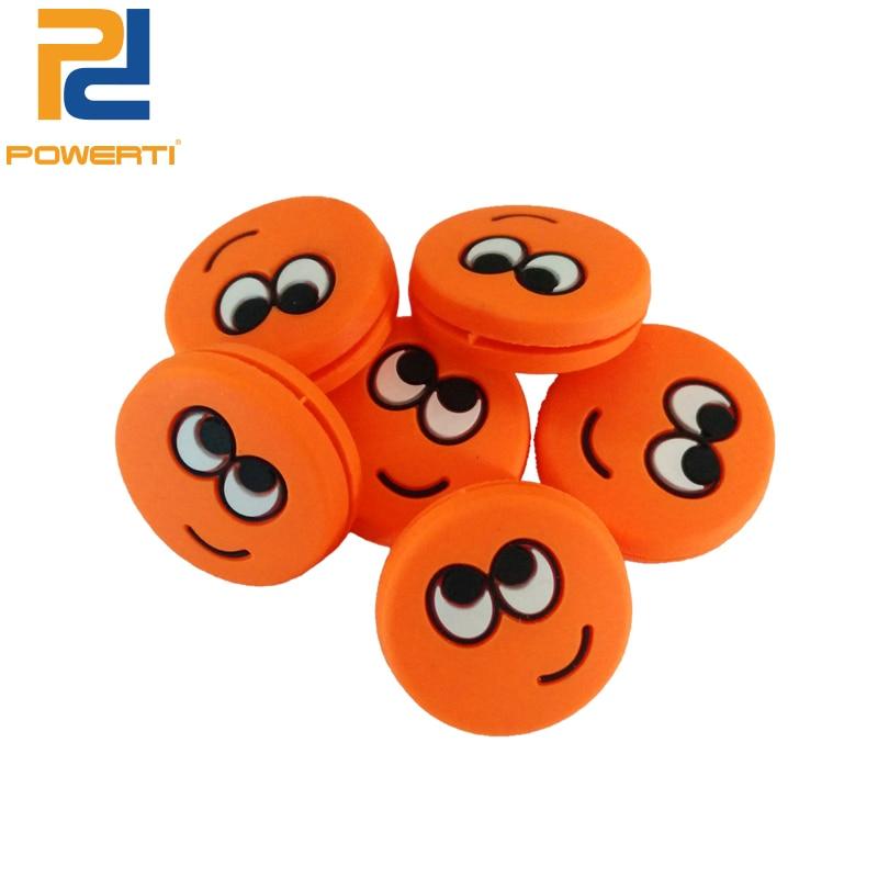 POWERTI 10pcs/lot Big Eye Sprout Tennis Dampener Orange Expression Funny Silicone Tennis Vibration Dampeners