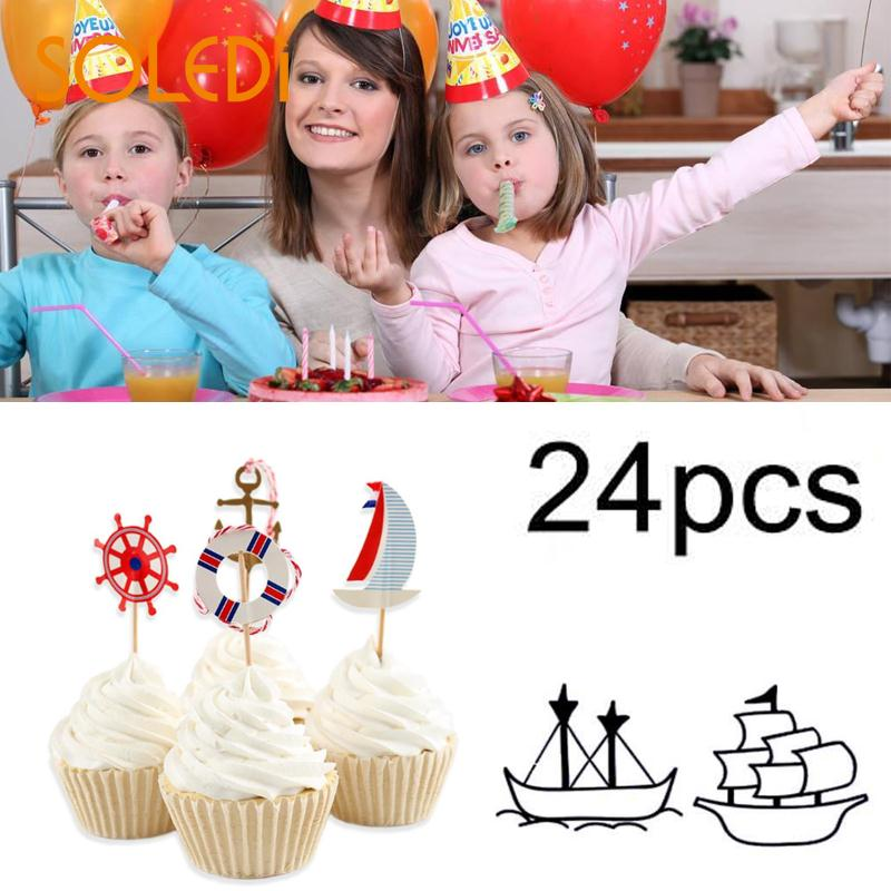 24pcs Anchor Flags Cake Decoration Paper+Wood For WeddingAnniversaryParty 10cm