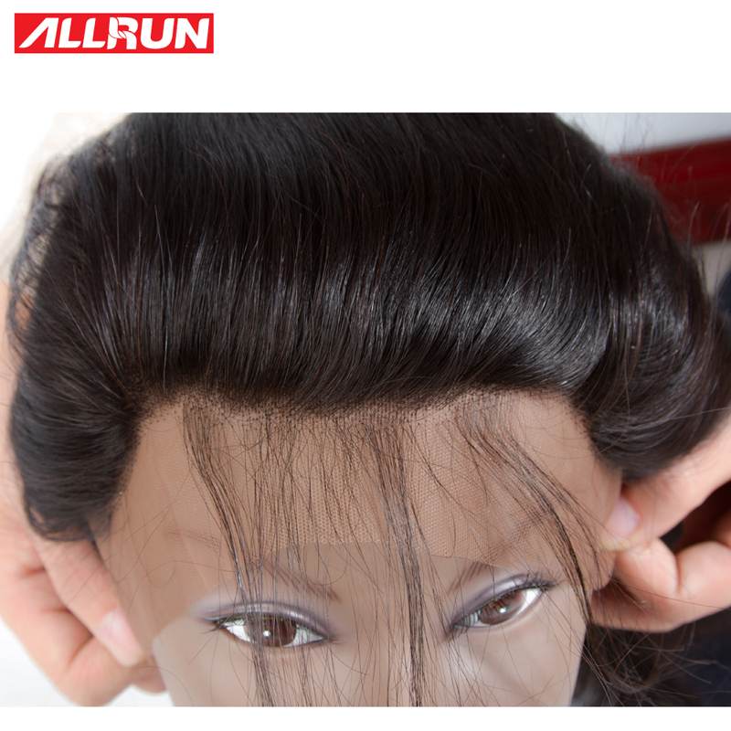 Allrun Brazilian Body Wave Lace Frontal Free Part Ear To Ear Human Hair Lace Closure 13x4 Inch 1 Piece Non Remy Hair 22 24 Inch
