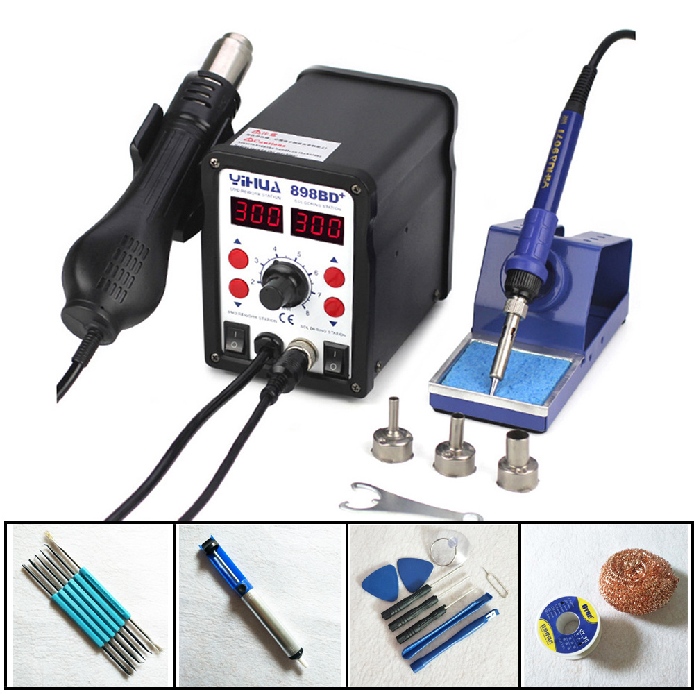Heat Gun Air Soldering Station Iron Stable Temperature Control YIHUA 898BD+ 2 in 1 SMD Rework Soldering Station For iPhone
