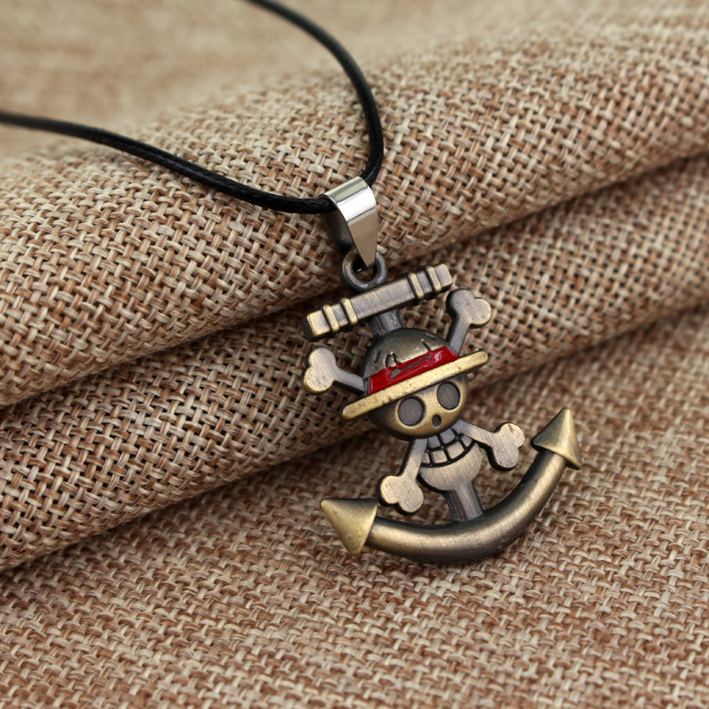Halloween Christmas New Year GiftJapanese Anime One Piece Rudder LogoPendant Necklace Luffy Model Necklace Birthday Present
