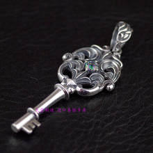 Thailand, Hollow Out Carve Patterns Or Designs On Woodwork Restoring Ancient Ways Is Pure Silver Key Pendant