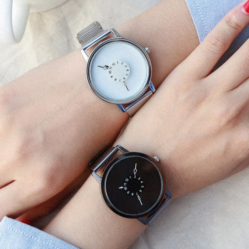 BGG Brand New Creative Fashion Watch Women Stainless Steel Mesh Band Casual Quartz Watch Lovers Classic White Black Watch bgg brand creative two turntables dial women men watch stainless mesh boy girl casual quartz watch students watch relogio