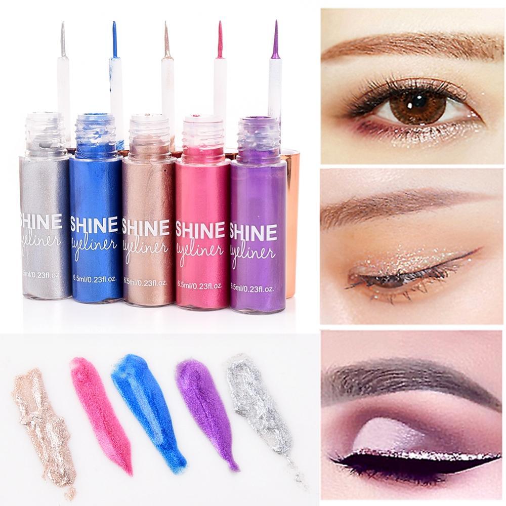 New 5 Colors Glitter Eyeshadow For Easy to Wear Waterproof Liquid Eyeliner Beauty Eye Liner Makeup