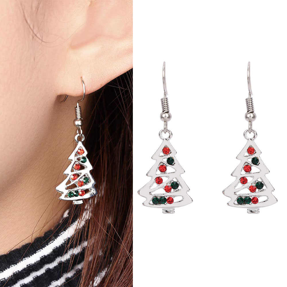 Christmas Tree Shape Stud Earrings Christmas Gift oorbellen Red And Clear Crystal For Women Fashion Christmas Earrings