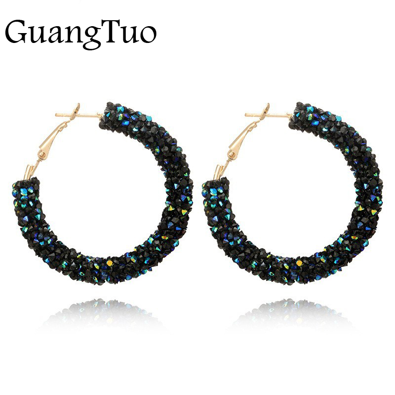 Geometric-Hoop-Earrings Jewelry Beads Crystal Rhinestone Gold-Color Bohemian-Luxurious