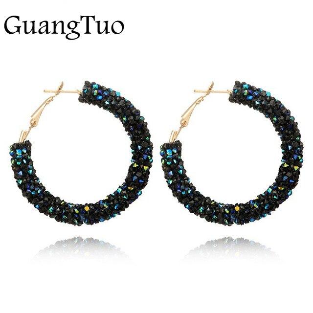 EK711 Bohemian Luxurious Crystal Rhinestone Beads Geometric Hoop Earrings For Wo