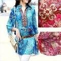 Blusas femininas de vintage verão roupas de tamanho extra camisa fina de seda azul e vermelha G GG GGG 4G 5G