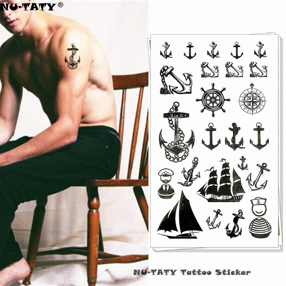 Marine Pirate Anchor Temporary Tattoo Body Art Arm Flash Tattoo Stickers 17*10cm Waterproof Fake Henna Painless Tattoo Sticker
