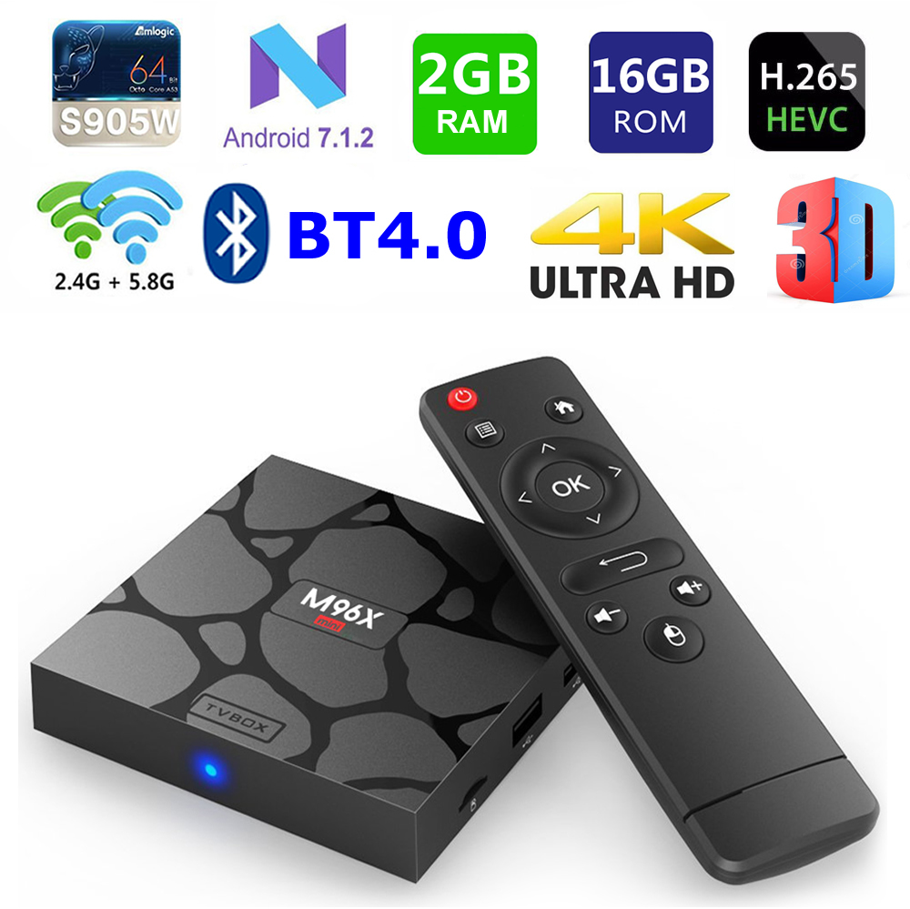 M96X mini Smart TV box Android 7.1 S905W Quad core 2G Ram 16G Rom 2.4G/5G Dual Wifi Bluetooth 4K H.265 TV Set-Top Box OTT BOX телеприставка ubox r89 tv box 89 android rk3288 2g 16g t764 gpu bluetooth 4 0 xbmc 2 4 g 5 g wifi h 265 r89 android tv box