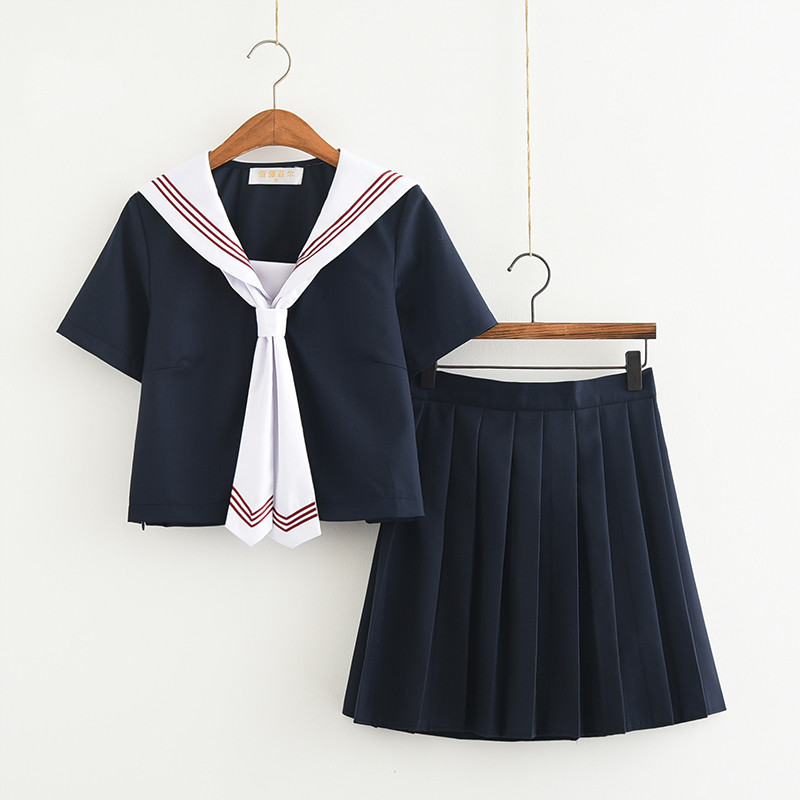 Dark Blue Japanese School Uniforms For Women Korean Navy Sailor Cotton School Uniforms For Girls Top+Skirt+Tie S-XXL