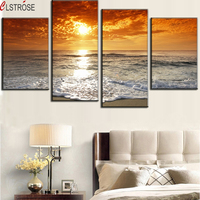 CLSTROSE 4 Pieces Canvas Wall Art Sunset Glow Seascape Painting White Rolling Waves Scenery Wall Pictures For Living Room