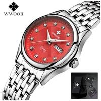 WWOOR Vrouwen Horloge 50 m Waterdicht Datum Klok Dames Quartz Horloges Sport vrouwen Polshorloge Zilver Armband Montre Femme
