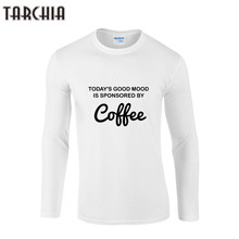 TARCHIIA Autumn Mens T Shirts Fashion COFFEE Printed Long Sleeve Cotton T-Shirt Men Casual Brand Clothing Homme Male Tees Tops