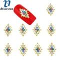 Azul 10 Unids Diseño Colorido Del Diamante de Bling Rhinestones Del Arte Del Clavo 3D Aleación de La Decoración Suministros de Manicura Taladro Proteína De Strass