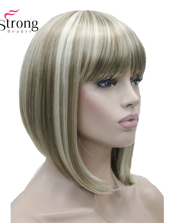 StrongBeauty Short Straight Blonde Highlighted Bob with Bangs Synthetic Wig Women's Wigs COLOUR CHOICES