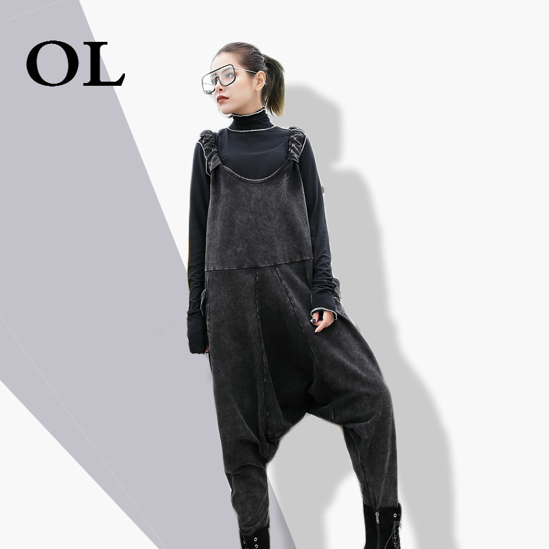 [OL] 2018 New Spring Strapless Loose Leisure Black Demim Loose Big Size Harem Jumpsuits Women Fashion Tide All-match W193